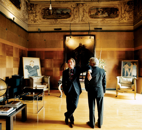 Valentino with Giancarlo Giammetti in Giammetti's office at the Palazzo Mignanelli, in Rome, on May 26, 2004. Photographs by Jonathan Becker.