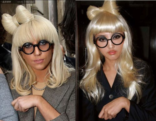 Style 3: Material: black-framed glasses without lenses; self-made bow tie by the blonde wig