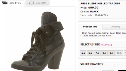ABLE Suede Heeled Trainer in Topshop