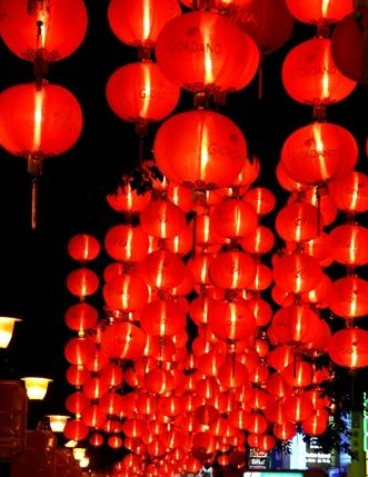 Big red lanterns everywhere during chinese new year