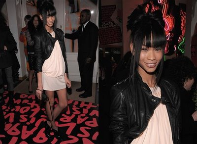 Chanel Iman in a black leather jacket
