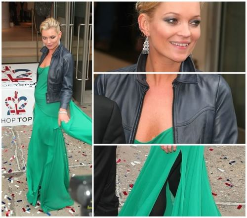 Kate Moss in a green maxi dress paired with a short black leather jacket